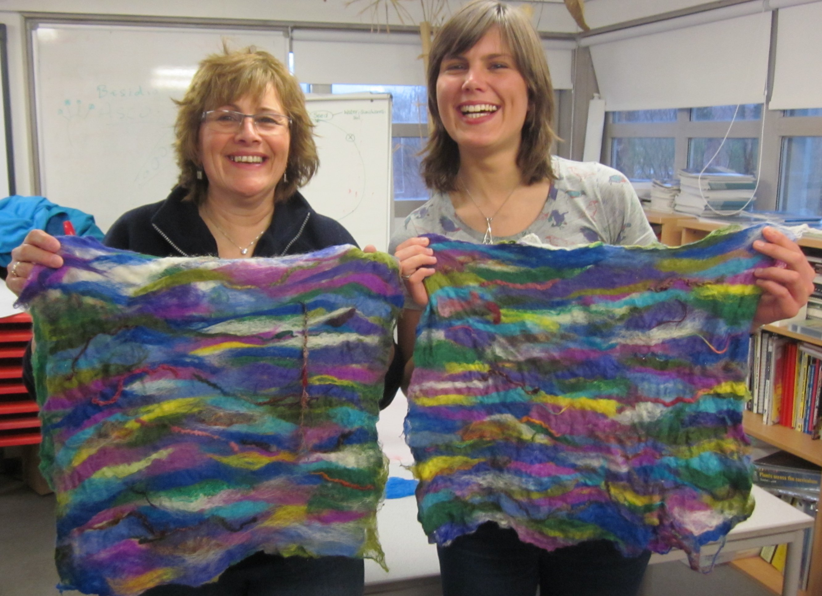 happy workshop participants -mother and daughter felting team
